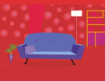 Red living room in retro style Stock Photography
