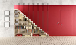 Red Living room with wooden staircase and bookcase. Living room with a staircase, bookcase and door flush with the wall - rendering Stock Photos