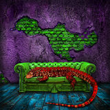 The red lizard. Giant lizard sleeping on a green leather sofa in a decadent colorful room Stock Photography