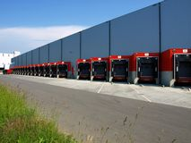 Red loading docks royalty free stock images