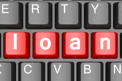 Red loan button on modern computer keyboard Stock Images