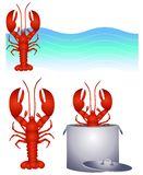 Red Lobster Clip Art and Logo. An illustration featuring an assortment of red lobster graphics including logo, clip art and in the pot. Yummy Stock Image