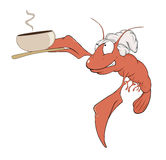 A red lobster a cook cartoon Royalty Free Stock Images