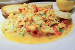 Red Lobster pasta and bread Royalty Free Stock Photography