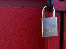 Red lock. It is a red lock which is made in U.S.A stock images