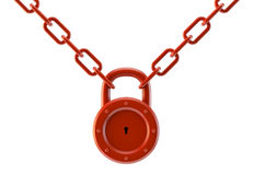 Red lock with а chain. Red lock with a chain isolated on a white background Stock Photos