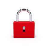 Red lock. 3D illustration. Royalty Free Stock Image
