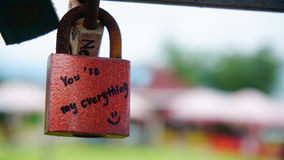 A red lock that have phrase you are my everything written on it Stock Photo