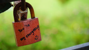 A red lock that have phrase you are my everything written on it Royalty Free Stock Image
