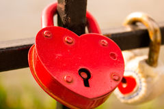 Red lock heart shape Stock Images