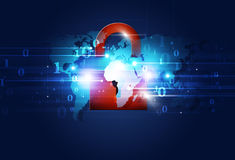 Red Lock Net Security. Abstract technology binary code with red lock internet security royalty free illustration