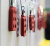 The Red Lock out hasp. Close up Royalty Free Stock Photography