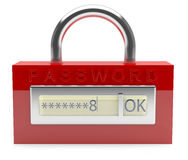 Red lock with password Stock Image