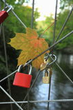 Red Lock on rope bridge Stock Photo