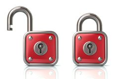 Red lock and unlock padlock 3d illustration. On white background royalty free illustration