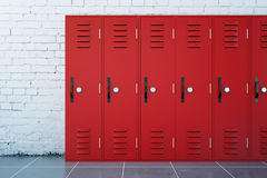 Red lockers Royalty Free Stock Images