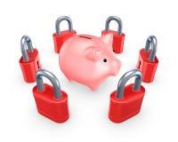 Red locks around pink piggy bank. Royalty Free Stock Photography