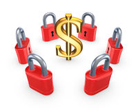 Red locks around symbol of dollar. Royalty Free Stock Image