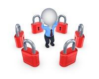 Red locks around worried 3d person. Stock Photos
