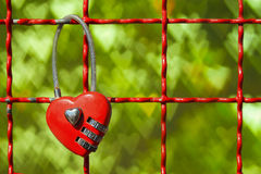 Red Locks in hart shape on green hearts bokeh Stock Images