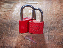 Red locks with hearts and key Stock Image