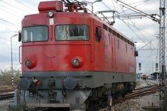 Red Locomotive Of Progress 2. Red locomotive coming towards Royalty Free Stock Photos