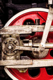 Red locomotive wheel close-up Stock Images