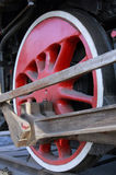 Red locomotive wheels Royalty Free Stock Photos