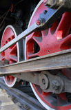 Red locomotive wheels Stock Images