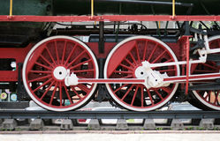 Red locomotive wheels Stock Photography