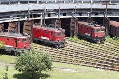 Red locomotives Stock Images