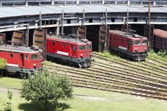 The red locomotives royalty free stock photography