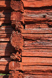 Red log wall. Royalty Free Stock Photo