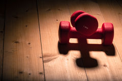 Red loght dumbbells on a wooden flor Stock Photos
