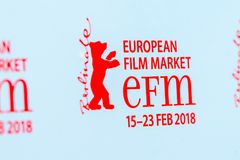 Red logo of the EFM European Film Market 2018. Berlin, Germany - February 22, 2018: EFM European Film Market 2018 red logo. During Berlinale Festival, producers Royalty Free Stock Photos