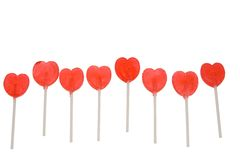 Red Lollipop Hearts Royalty Free Stock Photos