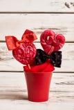 Red lollipops in flowerpot. Royalty Free Stock Image