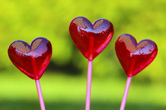 Red lollipops in heart shape Royalty Free Stock Photography