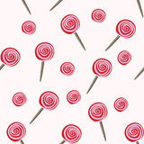 Red lollipops seamless pattern Royalty Free Stock Photos