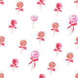 Red lollypops watercolor seamless vector pattern Stock Image