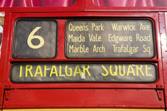 Red London Bus,. A close-up view of a traditional red London bus, London, England UK Stock Images