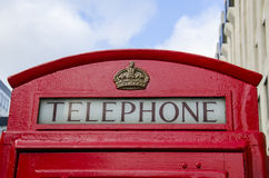 London Phone box. Red london Phone box and the blue sky Royalty Free Stock Images