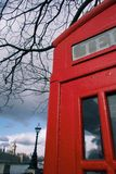 Red London telephone box and Houses of Parliament Royalty Free Stock Photos