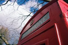 Red London telephone box Royalty Free Stock Images
