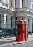 Red London Telephone Boxes at Lancaster Gate Royalty Free Stock Photos