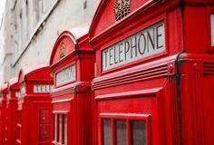 Red London Telephone Boxes royalty free stock images