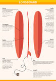 Red long board vector infographic leaflet Stock Images