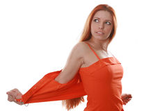 Red long-haired woman Stock Photos