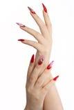 Red long nails royalty free stock photos