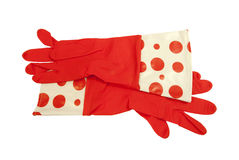 Red long Rubber Gloves Royalty Free Stock Photos